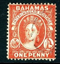 BAHAMAS-1877 1d Scarlet-Vermilion, Perf 14 without reversed watermark Sg 33x