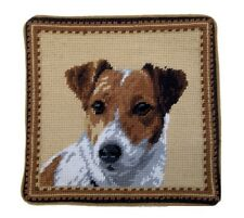 """Jack Russell Dog Needlepoint Pillow 10""""x10"""" NWT"""