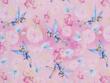 DISNEY TINKERBELL  TINK WITH ROSES  100% COTTON FABRIC  PIXIE  FAIRY   YARDAGE