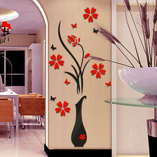 80*40cm DIY Home Decor Vase Flower Tree Crystal Arcylic 3D Wall Stickers Decal