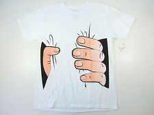 RING OF FIRE WHITE LARGE HAND GRIP SQUEEZE TSHIRT MENS NWT NEW