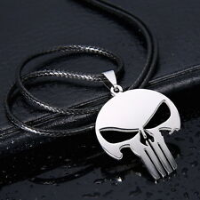 Mens Unisex Stainless Steel Leather Necklace Punisher Skull Face Mask L30