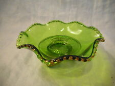 Antique EAPG Ruffled Footed Dish Green Colorado Pattern US Glass Fruit Berry