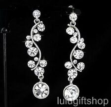 18K WHITE GOLD PLATED DANGLE CHANDELIER EARRINGS USE SWAROVSKI CRYSTALS LOVE