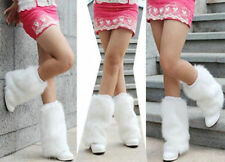 New Lady Women Girl Boot Cuff Fluffy Soft Furry Faux Fur white Leg Warmer -30cm