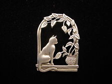 """JJ"" Jonette Jewelry Silver Pewter 'Fern Draped Window' Cat Pin"