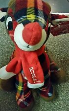 "RUDOLPH THE RED NOSE REINDEER Soft Plaid Plush with Scarf New With Tags 11"" NWT"