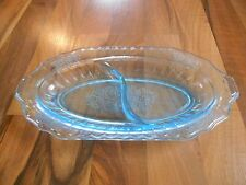 Old Vintage 30s Hocking Glass Mayfair Open Rose Blue Divided Section Celery Dish