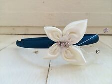 Teal Satin Headband Hairband Alice Band Ivory Butterfly Bridesmaid Flower Girl