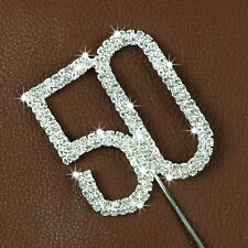 Crystal Rhinestone NO. 50th Anniversary Birthday Cake Topper Wedding Party Decor