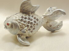 Blue Fish Trinket Box Silver Base Metal Enamel And Crystals #8888