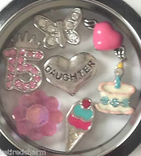 "ORIGAMI OWL ~ "" I LOVE YOU FROM MOM"" ~ LOCKET CHAIN CHARMS ~ FOR A 15 YEAR OLD"