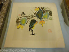 Chinese Ink Wash Painting Signed with artist Seal Yellow Breast Bird On One leg