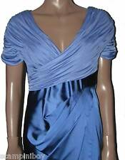 Stunning Karen Millen blue draped jersey top satin skirt Dress UK 14