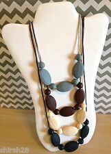 4 Necklace Silicone Baby Teether Teething Nursing Jewelry Black Gray Beige Brown