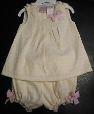 BOUTIQUE JILLIAN'S CLOSET 2/PC OUTFIT SET SZ 3-6/M NWT IVORY WITH PINK ACCENT