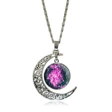 Cresent Moon Handcrafted Pink Galaxy Planet Glass Cabochon Sterling Silver NEW