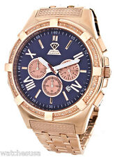 Aqua Master W#348 Schaffhausen Chrono Blue Dial Rose Gold Stainless Steel Watch