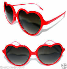 Heart Shaped Sunglasses Vintage Red Frame  Black Lenses Valentine retro Lolita