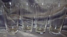 Etched Drinking Glasses Highball Tumblers by Crate & Barrel Taxi pattern 4 16oz