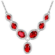 Red Crystal Oval Silver Plated Statement Necklace