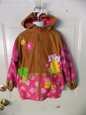 Stephen Joseph Little Girls'  Brown Rain Coat Owl Size 4/5 Girl's EUC
