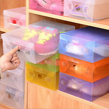 10 Pcs Plastic Shoes Boots Storage Box White Clear Stackable Foldable Organiser