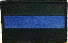 Police Thin Blue Line Flag Iron-On Patch Black Border Police Emblem