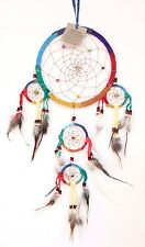 NEW MULTICOLOR RAINBOW DREAM CATCHER HANDMADE LEATHER FEATHER CAR WALL DECOR