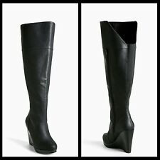 NIB Torrid Over The Knee Wedge Boots Wide Width & Wide Calf Black Size 8W