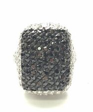 Sterling Silver 925 Round Black Onyx / CZ Cluster Band Cocktail Ring Sz 7