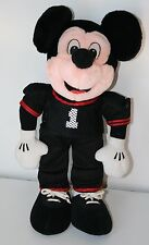 "Disney 14"" Mickey Mouse Football Player Plush Black and Red Stuff Animal"