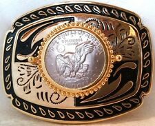 1978 Real Liberty Eagle Silver Dollar Mounted in Gold Plated Belt Buckle LARGE