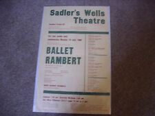 BALLET  Rambert  Various Shows  1960 SADLER's WELLS Original Theatre Poster