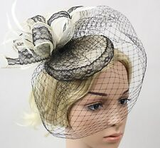 STUNNING BLACK AND CREAM FASCINATOR WITH LACE, LOOPS, FEATHERS AND VEILING