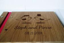 ENGAGEMENT WEDDING guest book unique rustic wood book, love bird a5 size