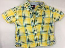 TOMMY HILFIGER Boy's 12-18 Months Button Polo Top - Yellow/Baby Blue Stripe EUC