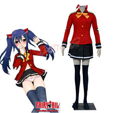 Cafiona Fairy Tail Wendy Marvell Cosplay Costume Sexy Dress Mini Pleated Skirt
