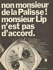 Publicité Advertising 1968  Montre LIP  chronographe