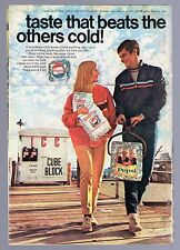 1968 Pepsi Cola Soda Ad ~ Cube Block of Ice ~ taste that beats the others cold!