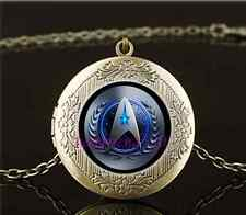 Vintage Star Trek Movie Photo Glass Brass Chain Locket Pendant Necklace#L76