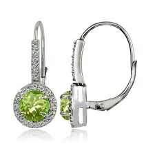 Sterling Silver 2ct Peridot and White Topaz Round Leverback Earrings