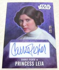 Star Wars Evolution 2016 Purple 12/25 Autograph Card Carrie Fisher Leia Organa