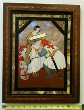 Antique Erotic Butterfly Wing Reverse Painting Chastity Belt Crusader 14 by18 HS