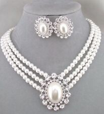 White Pearl Crystal Rhinestone Silver Necklace Earrings Set Fashion Jewelry NEW