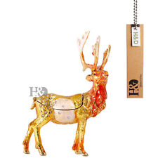 Handmade Crystal Metal Reindeer Jewelry Trinket Box Xmas Gift Ornament Decor