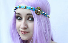 COLOURFUL CRYSTAL FLOWER GOLD STUDDED BLUE PLAIT FESTIVAL FAERIE GRUNGE HEADBAND
