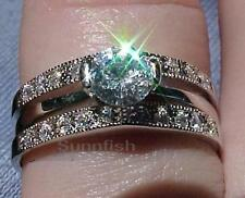 925 STERLING SILVER PAVE SOLITAIRE AND JACKET RING SET SIZE 10