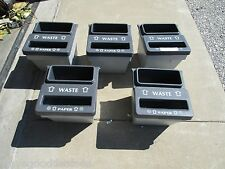 LOT OF 5 IPL 60359 COMMERCIAL 2 COMPARTMENT RECYCLE BIN