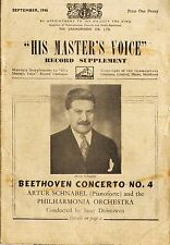 HIS MASTER'S VOICE HMV record supplement catalogue: september 1946 - 20 pages